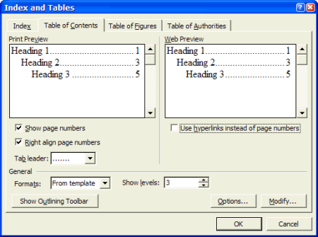 Word's Table of Contents dialog box