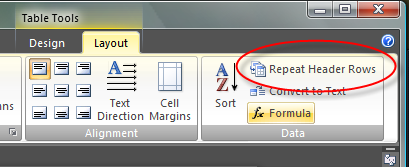 Table Header Row setting in Word 2007