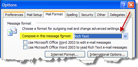Rich Text mail format
