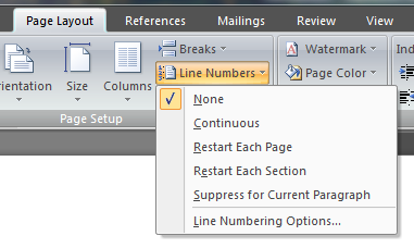 Setting line numbering in Word 2007