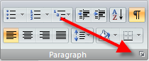 Paragraph dialog launcher button