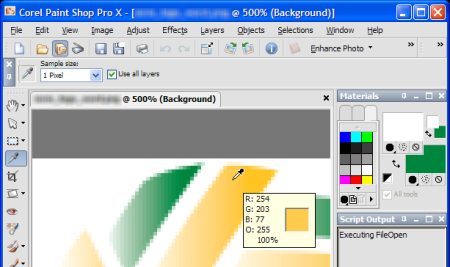 The eyedropper tool shows the RGB value of a pixel