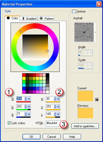 Material Properties window showing color values