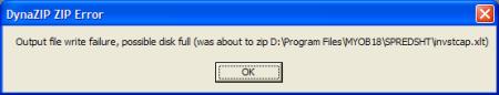MYOB - DynaZip ZIP Error