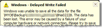 MYOB - Windows Delayed Write Failed