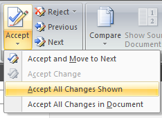 Word: Accept formatting Track Changes but not text