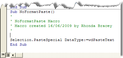 Macro for pasting unformatted text