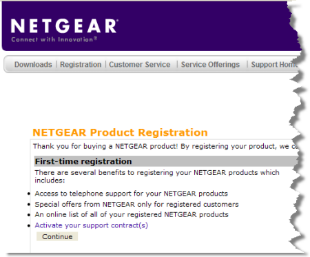 Netgear's product registration page
