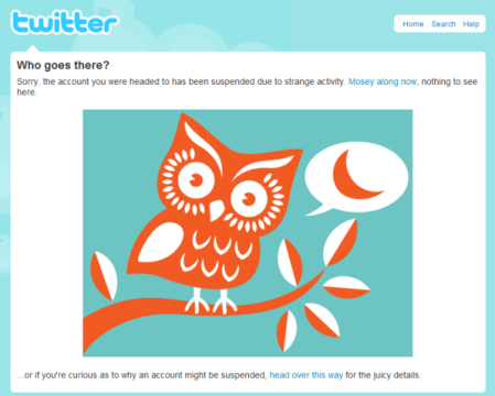 How Twitter deals with a suspended account -- nice message delivery!
