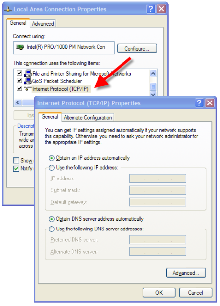 Internet Protocol (TCP/IP) dialog box
