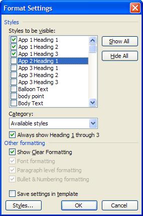 Format Settings dialog box