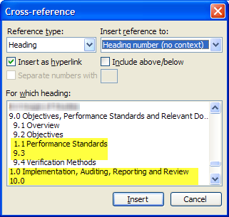 Cross-reference headings are incorrectly listed as 1.1