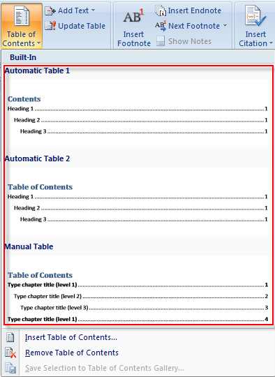 how to create update table of contents in word