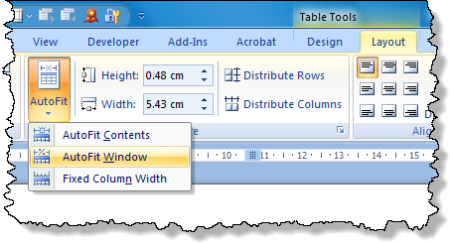 Word: Autofit a table to the width of the page margins