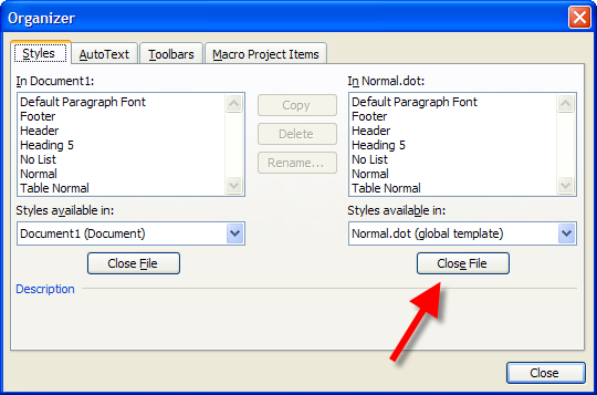 Word: Use the Organizer to copy macros, styles from one document ...