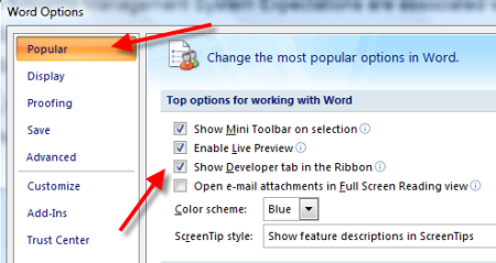 word 2007 how to add the developer tab