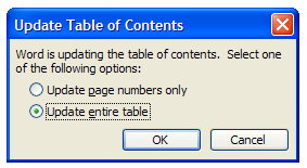 Word: Getting a two-line heading onto one line in the Table of
