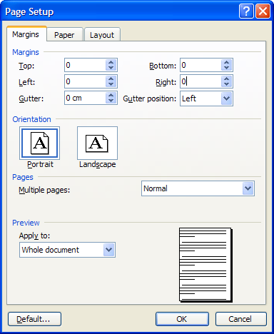 Word: How to find out your printer's printable area | CyberText