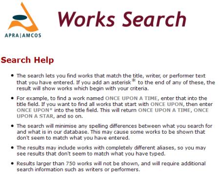 APRA/AMCOS Help