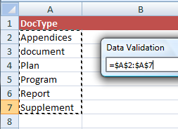 Selected items as displayed in the Data Validation panel
