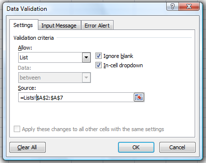 Data Validation dialog box with reference to other worksheet