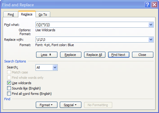 Word: Replace and reformat text inside square brackets using