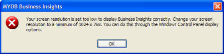 MYOB error about monitor resolution