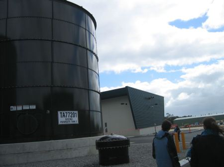 One of the external tanks containing solution for the RO process