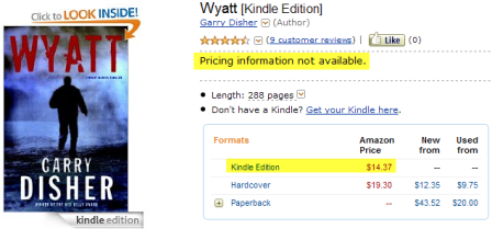 The price on the book's page is $14.37 for the Kindle edition
