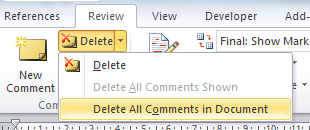 Delete all comments in Word 2007 and later