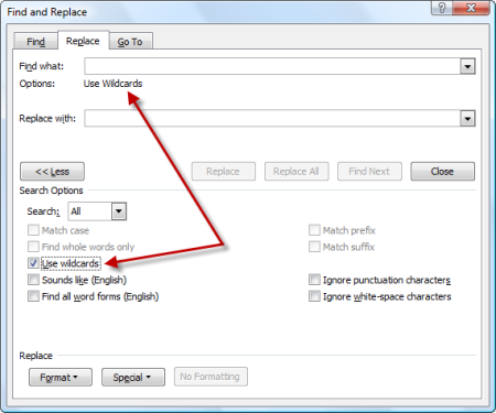 Find and Replace dialog - select Wse Wildcards