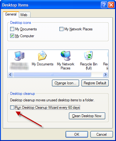Clear the Run Desktop Cleanup Wizard check box