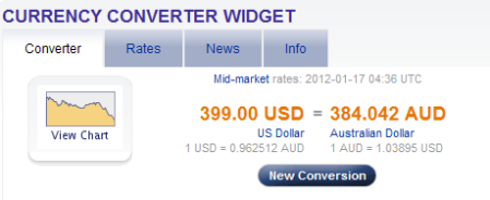 US$399 converted to Australian currency