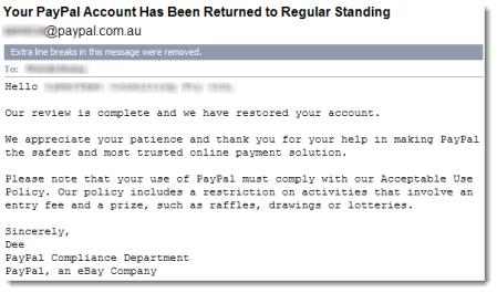 PayPal email restoring my account