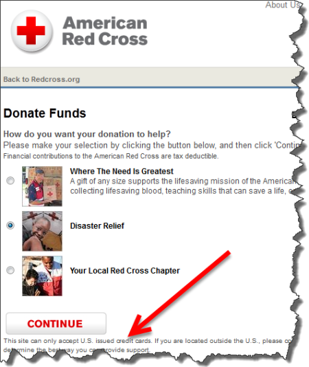 American Red Cross doesn't accept non-US credit card donations