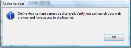 Acrobat Help isn't very helpful if it requires internet access