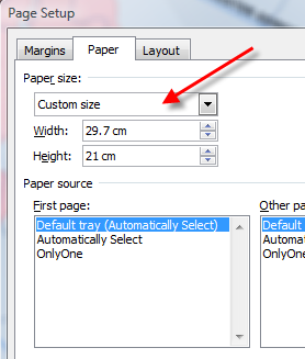 how to change paper size in word 2010