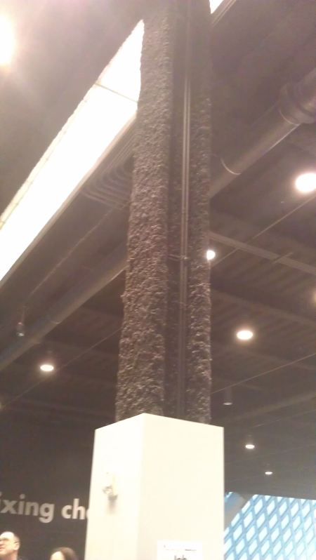 Black fire-proofing material on steel pillars