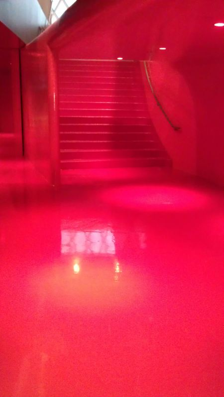 Outside the meeting rooms on the 4th floor everything is RED