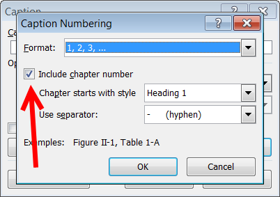 Word: Change caption numbering from sequential to chapter numbering
