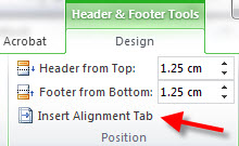 Word: Auto aligning header/footer info in portrait and