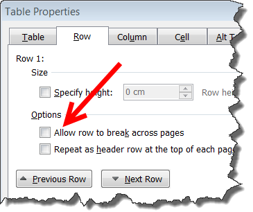 Word: Table or table row goes to next page | CyberText