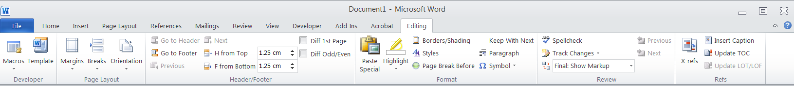 Word: Create a custom tab for your most-used tools