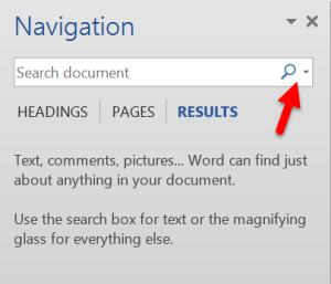 Navigation pane has an option under the magnifying glass for finding types of objects in your document