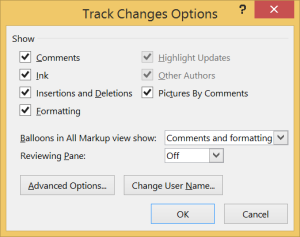 Track Changes Options window