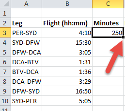 Excel: Convert hours and minutes to minutes | CyberText Newsletter