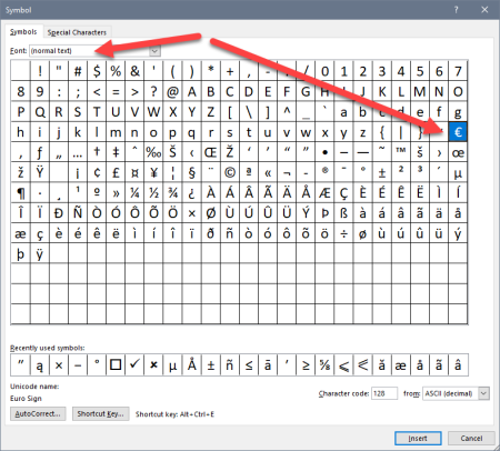 Screenshot of Symbol window, showing normal text selected as the font, and the Euro symbol selected from the table of symbols.