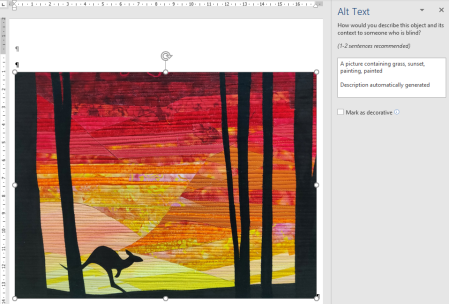 Screenshot of a Word document showing a picture of a kangaroo and the automatic Alt Text that does not mention the kangaroonot