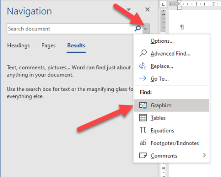 Screenshot showing Navigation pane drop-dwon arrow with Graphics option highlighted
