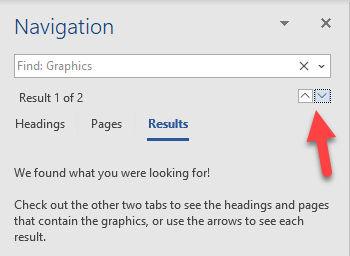 Screenshot showing the next and previous arrow icons fro jumping to the next or previous graphic in the document